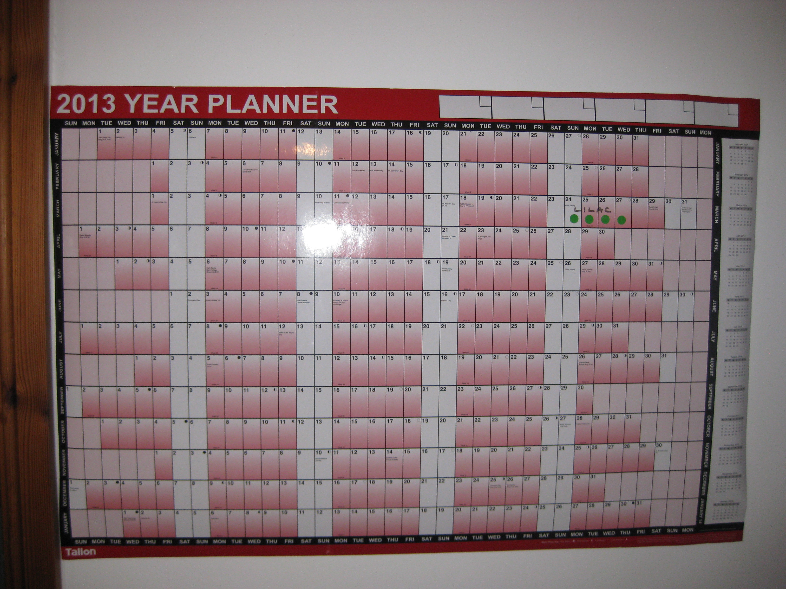Photo of wallplanner